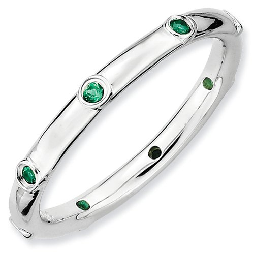 Emerald Bezel Ring (2.25mm Sterling Silver Stackable Expressions Bezel Set Created Emerald Ring - Size)