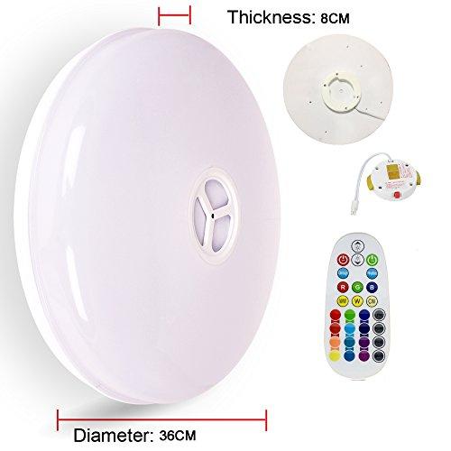 Lámpara de techo con mando a distancia, HOREVO Ø36cm IP65 de luz de techo regulable con altavoz Bluetooth Música, aplicación de teléfono inteligente Blanco ...