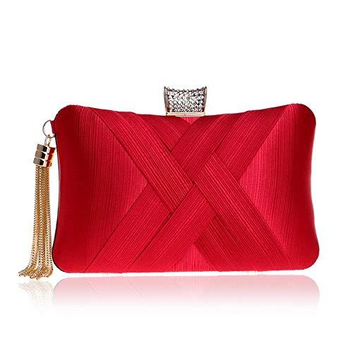 Embrague Del Borla Clutch Regalo Formal Clásico Colgante Elegante Rojo De La Noche Las Mujer Mano Tarde Partido Nupcial Bolsos Boda Coloryan Bolso Para Boda Monedero Mujeres El nXqYp71