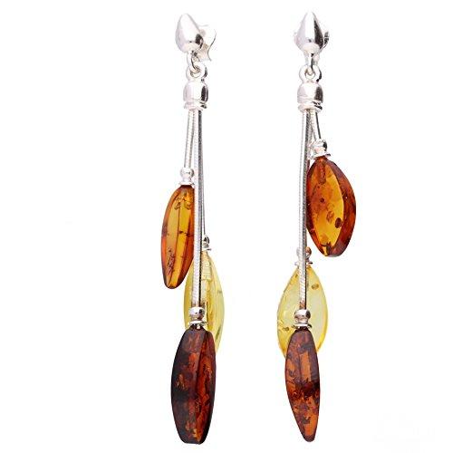 Baltic Amber Gemstone Sterling Silver 925 Jewellery Earrings, KAB-145