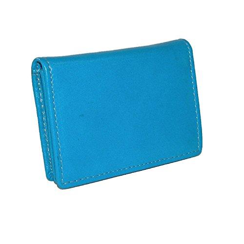 - Winn International Cowhide Drum-Dyed Napa Leather Bi-Fold Credit Card Case Blue