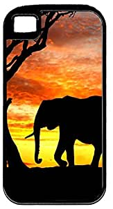 African Safari Elephant Silhouette & Tree At Sunset Black Rubber Hybrid Case for Apple iPhone 5/5s