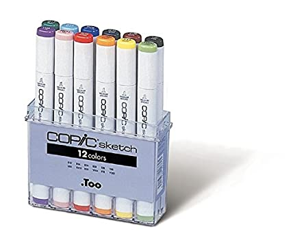 amazon com copic marker sb12 12 piece sketch basic set
