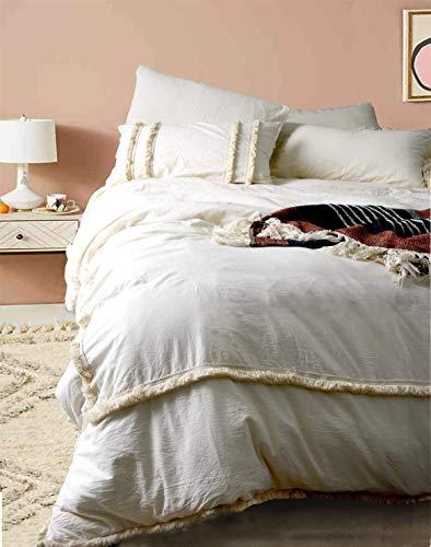 Flber Fringed Duvet Cover Tufted Boho Bedding King Size, 96in x104in (And Beige Bedding White)