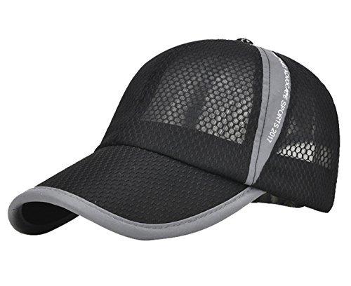 Men's Women's Peaked Mesh Sunscreen Cap Sports Hats for Fishing Tennis Baseball Beach Board Running Hiking Travelling Outdoor Light Black Beach Cap