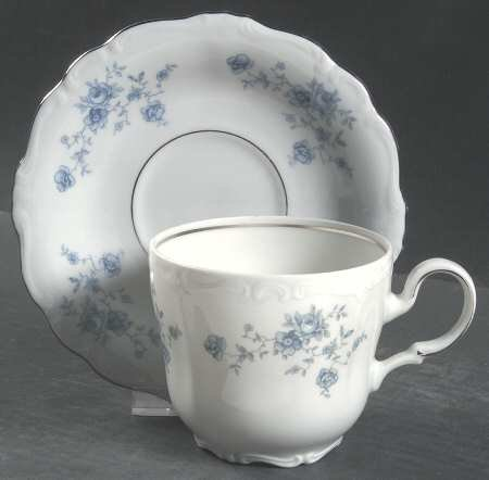 Johann Haviland Blue Garland Footed Cup and Saucer Set