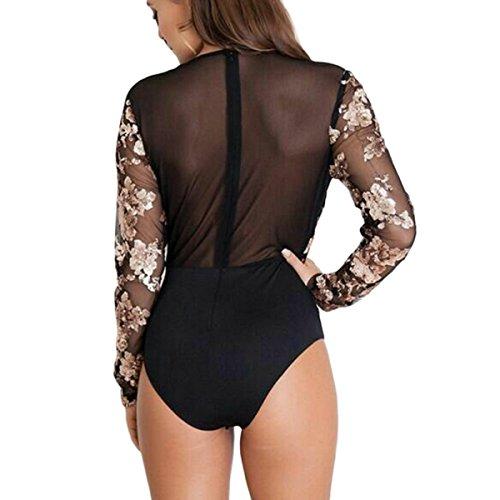 c74eeb1cc6784 good Kalin Women V Neck Floral Sequin Bodysuit Mesh See Through Long Sleeve  Rompers Top