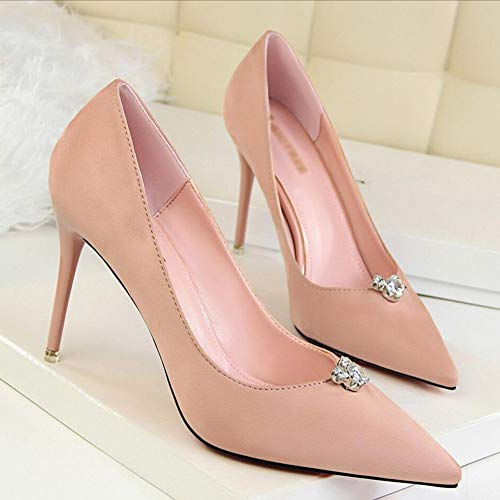 fines avec femmes 37 talons ouvertes rose strass pointes Haiming sexy à couleur simples taille vert pour Chaussures a4UXWqy
