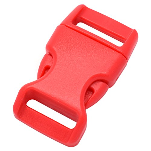 15 Pack Curved Side Quick Release Plastic Buckles for Paracord Bracelets Clasp/Pet Collar 15mm Webbing/Backpack Straps (Red)