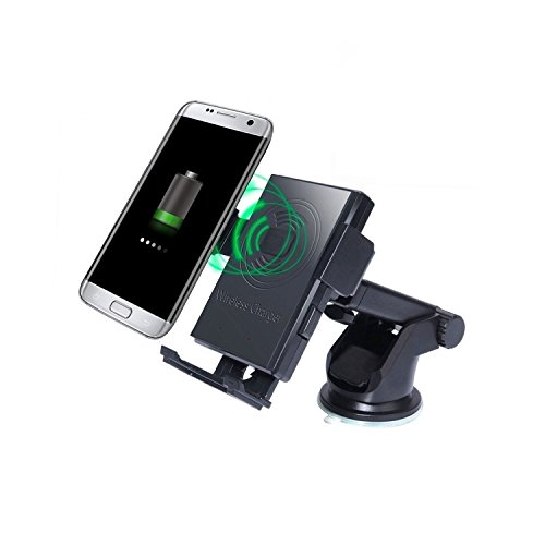 Senmil Wireless Charger Car Mount 360°Rotation Qi Wireless Charging 2-in-1 Car Holder for Samsung Note 5,Galaxy S7/S7 Edge/Plus,Galaxy S6/S6 Edge/Plus and iPhone X,iPhone 8/Plus