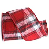 Renaissance 2000 2.5-Inch x 10yd Flannel Plaid with Red Black White Ribbon