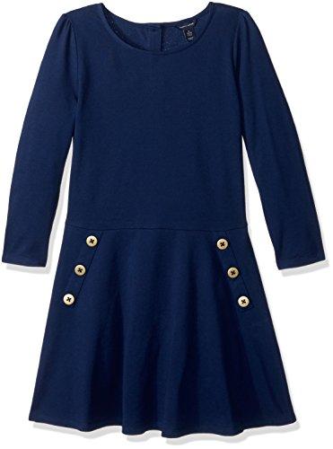 (Tommy Hilfiger Big Girls' 3/4th Sleeve Solid Pique Dress, Flag Blue, M)