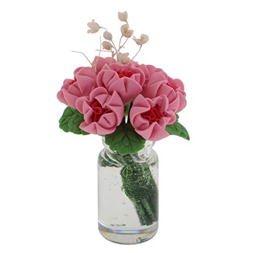 - Brosco 1:12 Miniature Bunch Flower in Glass Vase Dollhouse Room Table Ornament