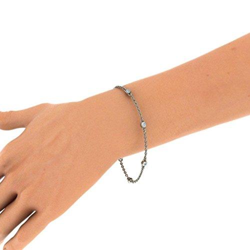 14K Or blanc, 0.414CT TW Round-cut-diamond (Ij  SI) Identification-bracelets