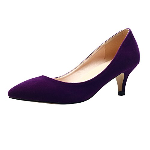 MAIERNISI JESSI Women's Classic Slip On Pointed Toe Kitten Heel Wedding Dress Pumps Shoes Purple 44 - US 10.5 (Women Shoes Purple)
