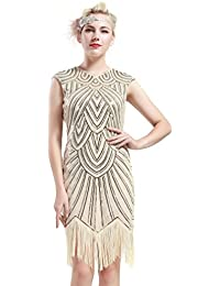 Women's Flapper Dresses 1920s Beaded Fringed Great Gatsby...