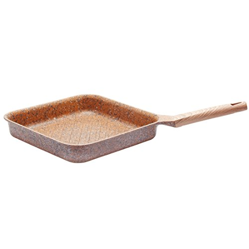 Frying Pan Die-Casting Aluminum Pans Induction Granite Coating Scratch Resistant Dishwasher Safe PFOA Free Nonstick Square Fry Pan 3.6L 11 Inch - Brown