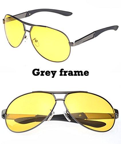 conducción metal gafas hombre amarilla piloto UV400 gafas Frame de Marco marco negro estilo de por nocturna el Lente visión anteojos gafas TIANLIANG04 polarizadas con hombres Black Aq1xzWtwEp