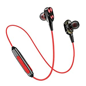 pTron BT Boom Dual Driver in-Ear Wireless Bluetooth Headphones with Mic – (Black and Red)