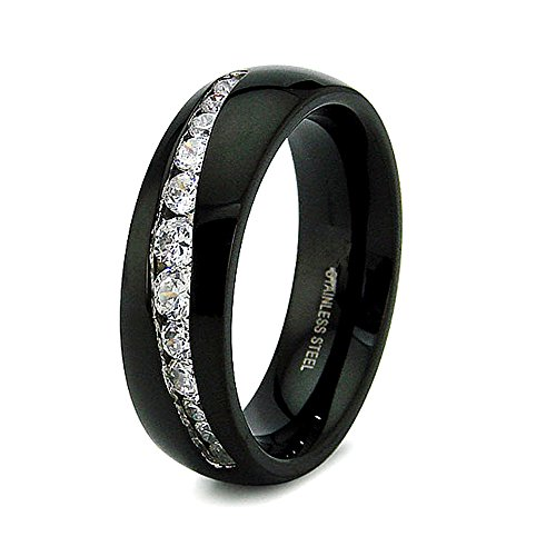 Channel Set Czs Ring (7mm Stainless Steel Black Plated Ring with 12 Channel Set CZs - Size 7)