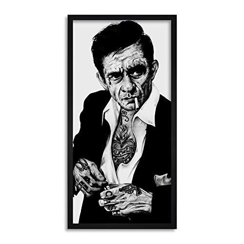 Johnny Tattoo Cash - Wee Blue Coo Johnny Cash Tattoo Wayne Maguire Inked Ikons Long Panel Framed Wall Art Print