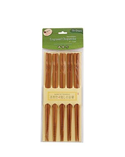 Grip Thai Sticks (Helen Chen's Asian Kitchen Engraved Bamboo Chopsticks, 9-Inches,)