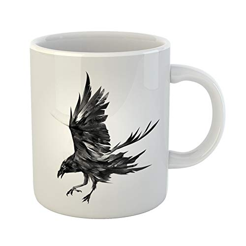 Emvency Coffee Tea Mug Gift 11 Ounces Funny Ceramic Crow of the Attacking Bird Raven Black Ink Air Gifts For Family Friends Coworkers Boss Mug -
