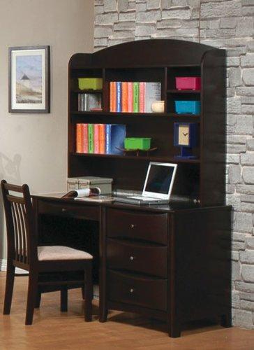 Computer Desk with Hutch Contemporary Style in Cappuccino ()