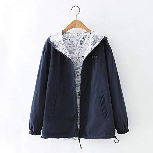 Autumn Print Women Coat Side Loose Navy Windbreaker Wear Cartoon Hooded Outwear Spring XCXKA Blue Trench Female Two Zipper Coat ZwCg5q