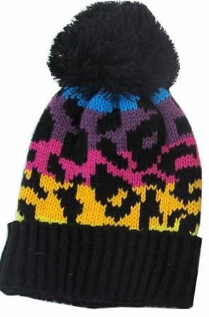 Leopard Print Kids Child Beanie Hat Winter Cap Rainbow Black by Okitani   Amazon.co.uk  Toys   Games f6412c6cea12