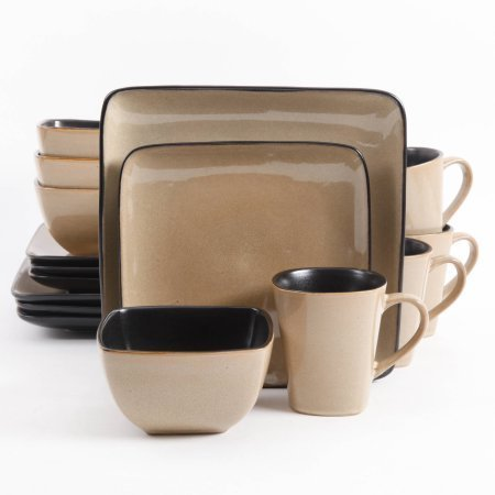 Gibson Everyday Rave Square 16-Piece Dinnerware Set, Taupe (Best Quality Everyday Dinnerware)