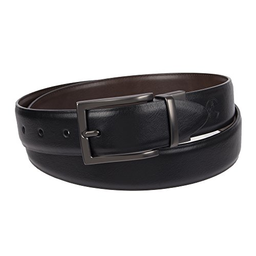 (Weatherproof Men's Dress Reversible Belt with Rotated Buckle, Black Brown / Gunmetal Buckle, 34 )