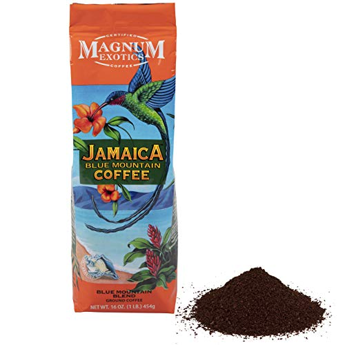 - Jamaican Blue Mountain Coffee Blend, Ground - Medium Roast, Fresh Strong Arabica Coffee - Rich And Smooth Flavor - Magnum Exotics, 1 Lb Bag