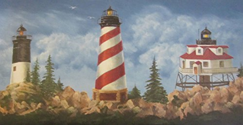 York Wallcoverings Lighthouse Wallpaper Border 1122 WT (Mural York Wall Lighthouse)
