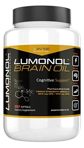 Lumonol Brain Oil (60ct): DHA/EPA Omega-3 Fish Oil, Pharma-Grade. Provides Vital Support for The Functioning of Brain Cells. Rejuvenating Brain Cells, Enhances Memory, Energy, Behavior.