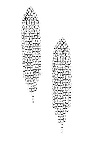 Extra Long Flapper Look Deco Style Clear Rhinestone Graduated Length Dangle Fringe Earrings 2 3/4""