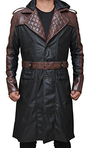 Men Assassins Syndicate Jacob Frye Outfit - Leather Coat Outfit | Black, XL (Jacob Black Halloween)