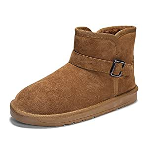CHENDX Shoes, Men's and Wonmen's Fashionable Winter Faux Fleece Inside Snow Boots Casual Antirust Metal Buttons Home Shoes (Color : Brown, Size : 8.5 UK)