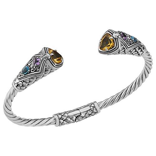 Artisanica Sterling Silver Citrine Multi-Gemstone Cuff Bracelet (7.5