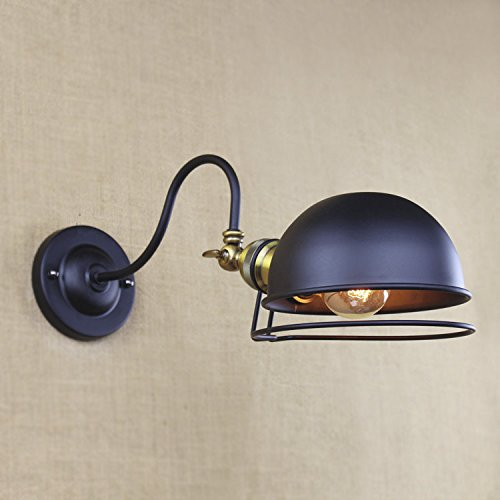 SUSUO Lighting Industrial Simplicity 1 Light Wall Sconces Gooseneck Lamp with Metal Dome (1 Light Halogen Wall Lamp)
