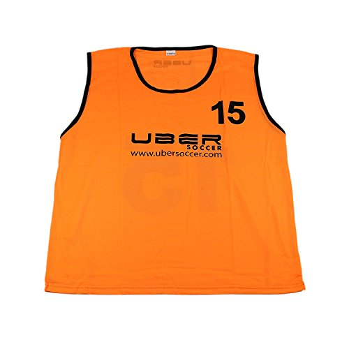 Uber Soccer Numbered Scrimmage Training Bibs - Set of 15 - Neon Orange - -