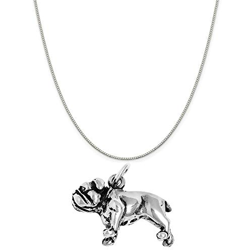 (Raposa Elegance Sterling Silver 3D Bulldog Charm on a Sterling Silver 18