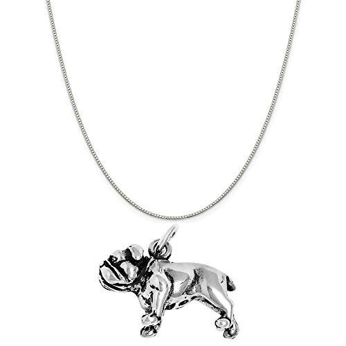 (Raposa Elegance Sterling Silver 3D Bulldog Charm on a Sterling Silver 18