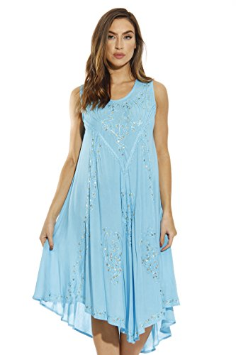 Rayon Crepe Dress - Riviera Sun 21660-TRQ-M Dress/Dresses for Women Turquoise