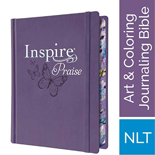 Inspire PRAISE Bible NLT (Hardcover LeatherLike, Purple): The Bible for Coloring & Creative Journaling