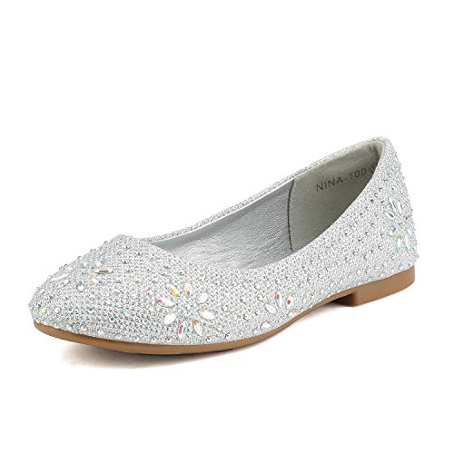 DREAM PAIRS Big Kid Nina-100 Silver Glitter Girls Dress Shoes Classic Ballet Flats - 4 M US Big ()