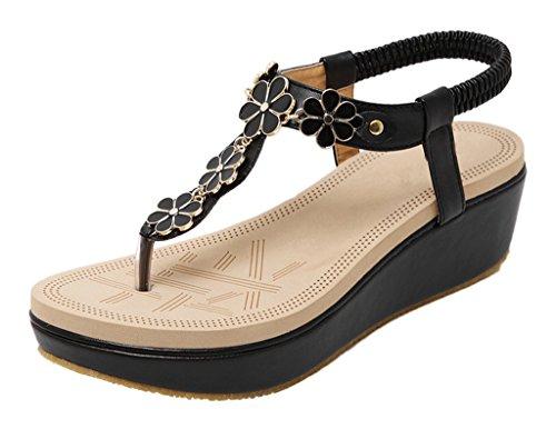 Sandale Strass weich Wedge schwarz pu Schuhe Tanga Perle Plattform Stil böhmischen 01 Frauen Sandalen wxAqUzH66