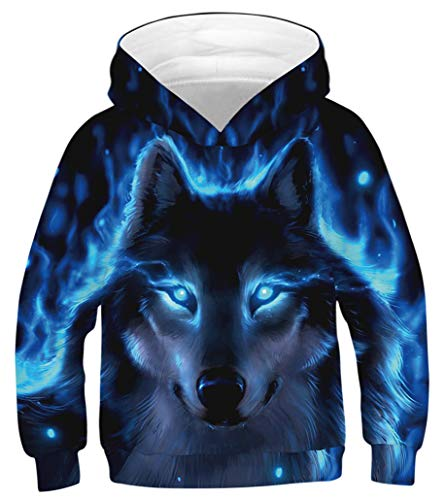 - GLUDEAR Children Unisex 3D Novelty Digital Printed Pullover Hooded Hoodie Sweatshirt,Blue Eyes Wolf