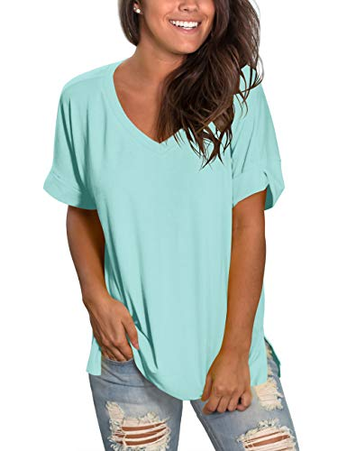 (liher Women's Short Sleeve Tops V-Neck Loose Fit Casual Tee Shirts)