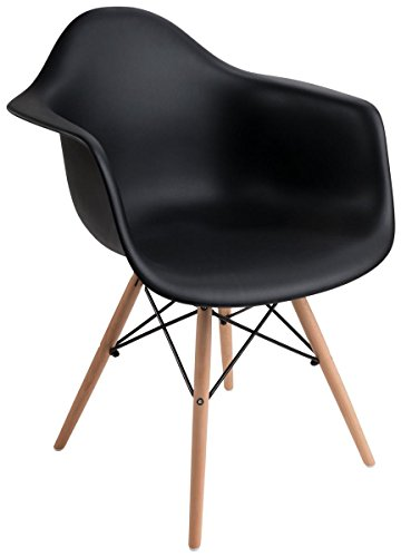 Displays2go, Plastic Molded Chair with Wood Base, Metal – Black Finish, Natural Base (FDC32WDABK) by Displays2go (Image #4)